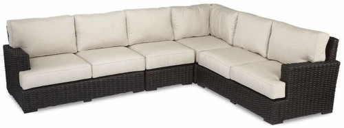 Cardiff Sectional with cushions in Canvas Flax with self welt