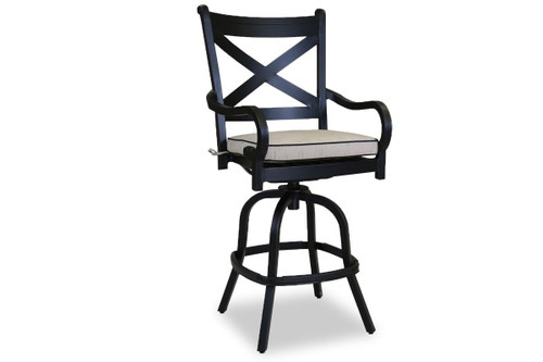 Monterey Barstool with cushions in Frequency Sand with Canvas Walnut Welt