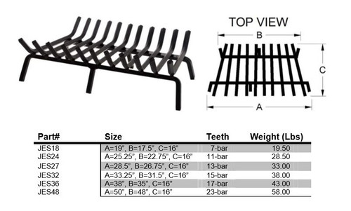 COOKE Extreme Multi-Bar Fireplace Grate