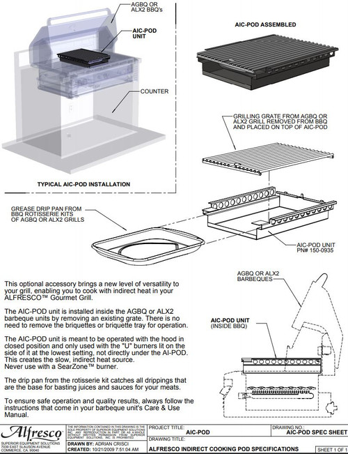 Alfresco Indirect Roasting Pod Spec Sheet