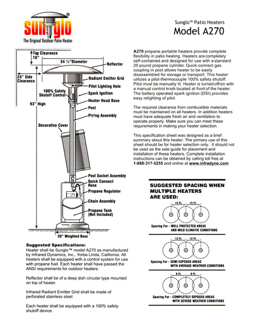 Sunglo A270 BZ Fine Gas Patio Heater -Bronze