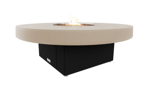 "COOKE Santa Barbara Round Fire Pit Table - 48"" Diameter - Beige Top"