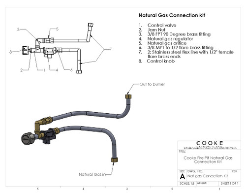 COOKE Fire Pit Table Natural Gas Connection Kit