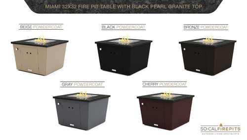 "COOKE Miami Square Fire Pit Table - 32"" x 32"" - Chat Height"