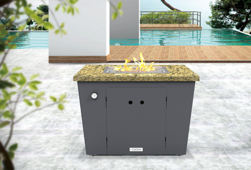 """COOKE Miami Square Fire Pit Table - 32"""" x 32"""" - Chat Height"""