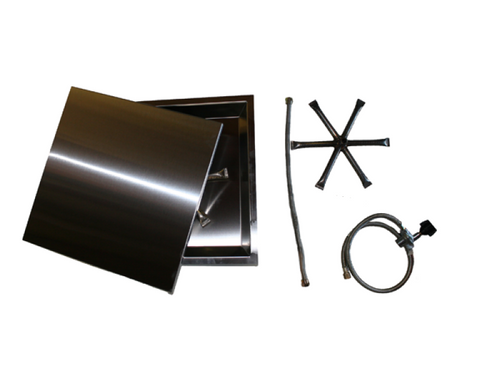 """COOKE 17"""" x 17"""" Square Fire Pit Kit w/ Swimming Pool Certified AWEIS and Optional Lid"""