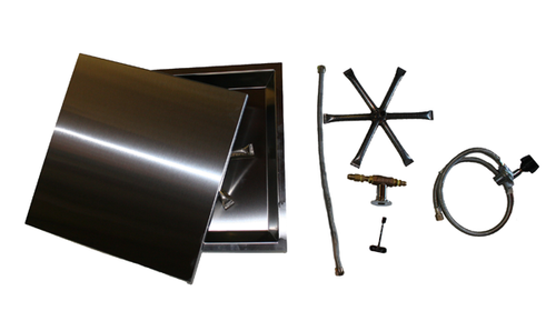 """COOKE 24"""" x 24"""" Square Fire Pit Kit w/ Optional Lid"""