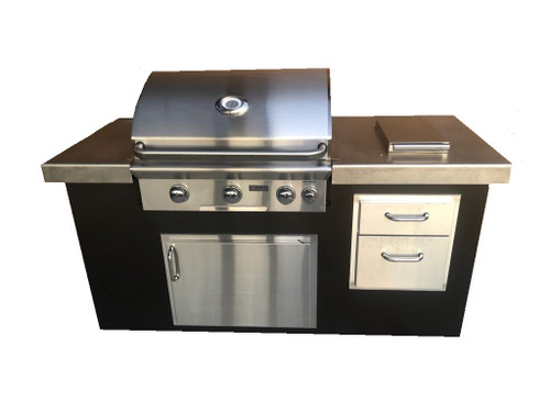 """COOKE Montecito 72"""" Long Stainless Steel BBQ Island"""