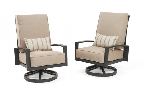 Outdoor Greatroom - Cast Ash Lyndale Highback Swivel Rocking Chairs with Lumbar Pillow