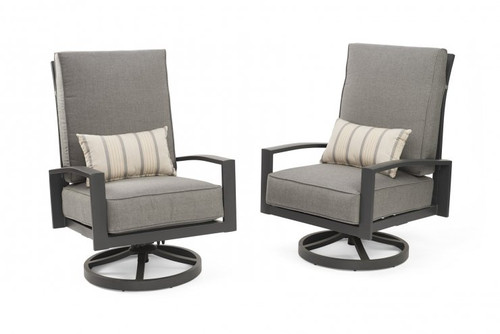 Outdoor Greatroom Cast Slate Lyndale Highback Swivel Rocking Chairs  with Lumbar Cushion