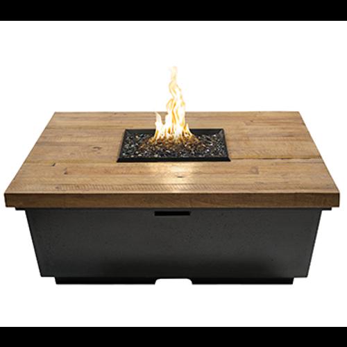 French Barrel Oak Contempo Square Fire Pit Table
