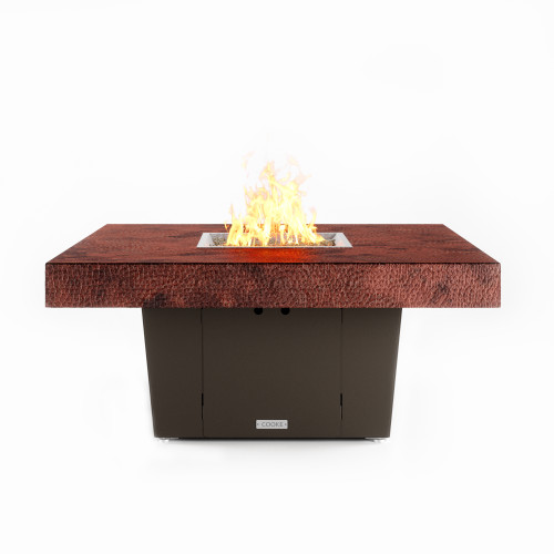 """COOKE Parkway Fire Pit Table 48"""" x 48"""" x 21"""" - Hammered Copper Top"""