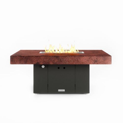"""COOKE Santa Barbara Fire Pit Table 52"""" x 36"""" x 21"""" - Hammered Copper Top"""