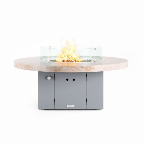 "COOKE Santa Barbara Fire Pit Table 55"" Diameter x 21"" - Stone Top"