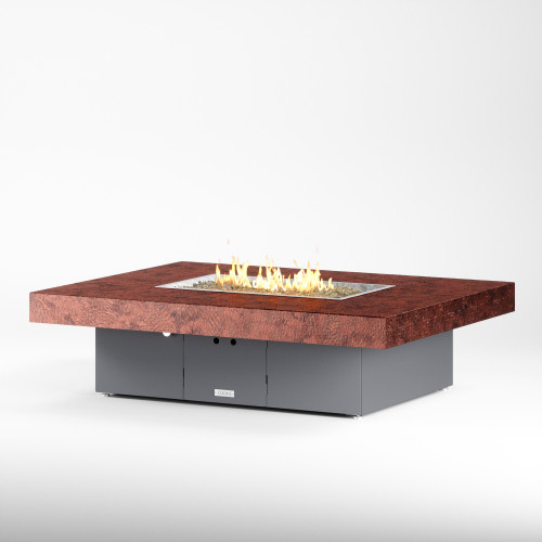 """COOKE Santa Barbara Fire Pit Table 62"""" x 48"""" x 17"""" - Hammered Copper Top"""