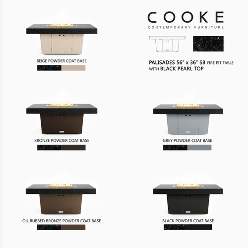 """COOKE Palisades Fire Pit Table 52"""" x 36"""" x 21"""" - Black Pearl Granite Top with 4"""" Edge-"""