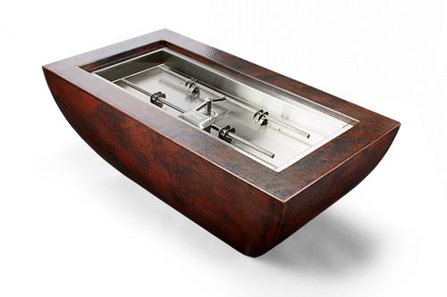 "Hearth Products Control - Phoenix Rectangular Copper Fire Bowl - 47"" x 25"" x 18"" - H Burner"