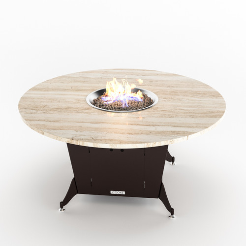 """COOKE Bishop Dining Height Fire Pit Table 60"""" DIA  x30"""" H"""