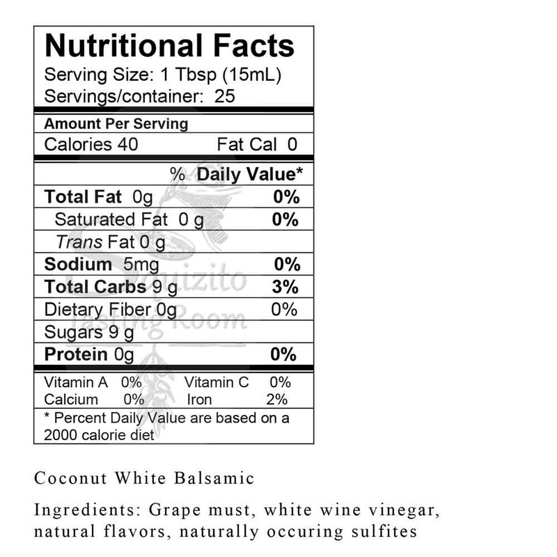 Nutrition Information Coconut White Balsamic from Squizito Tasting Room