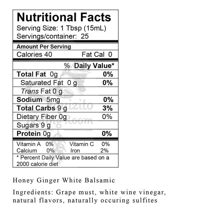 Nutrition Information Honey Ginger White Balsamic from Squizito Tasting Room