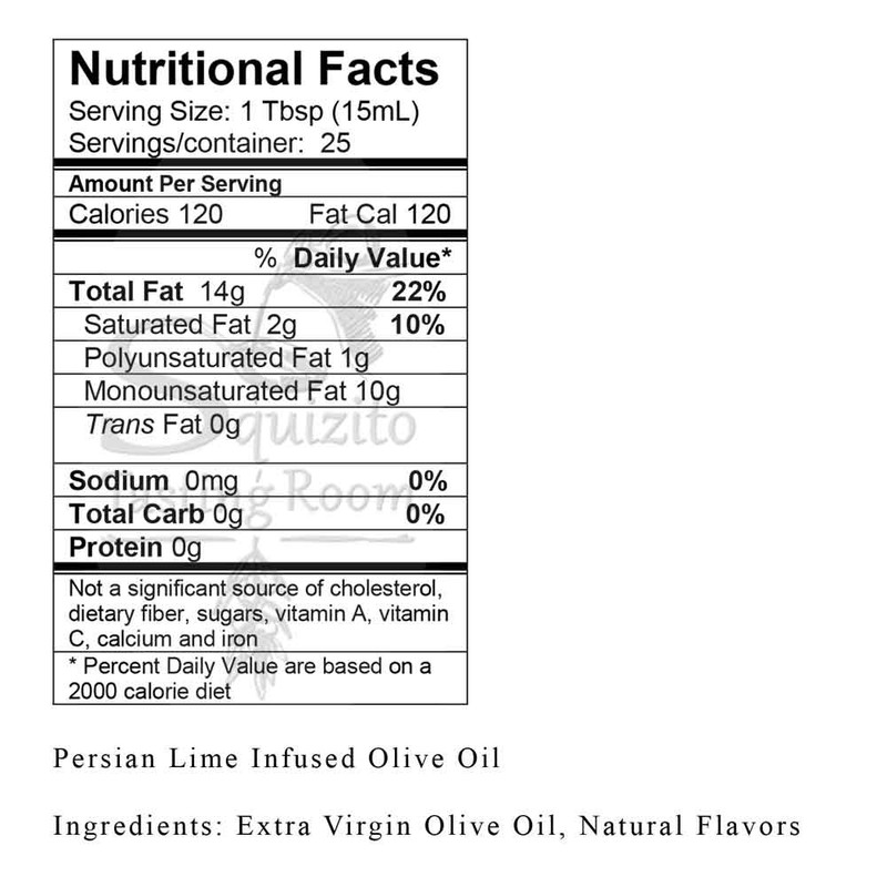Nutrition Facts Persian Lime Infused Olive Oil from Squizito Tasting Room