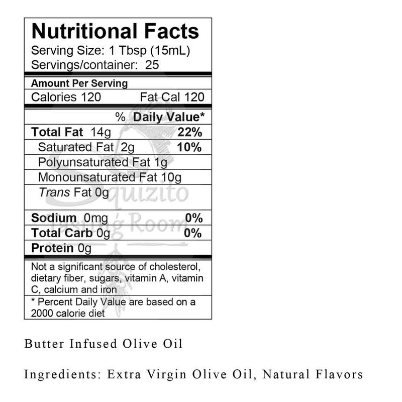 Nutrition Facts Butter Infused Olive Oil from Squizito Tasting Room