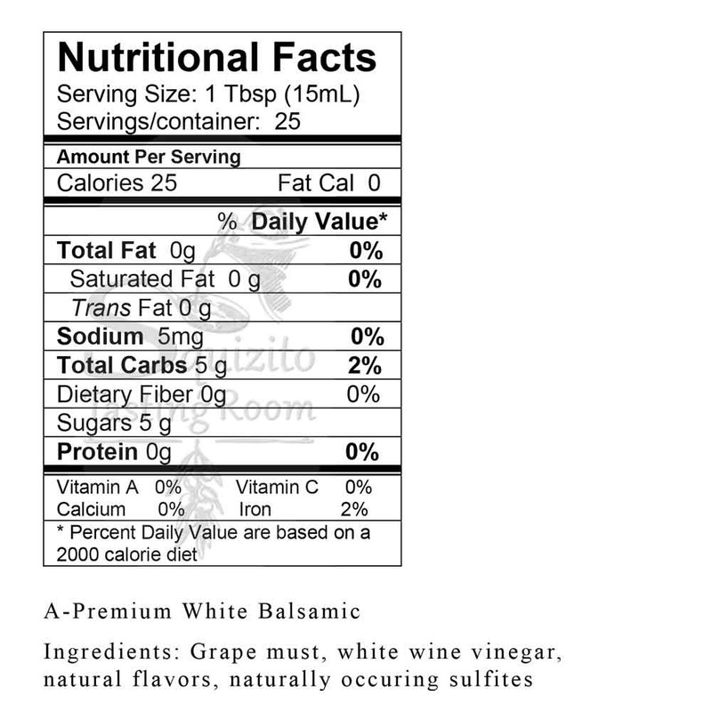 Nutrition Information A-Premium White Balsamic from Squizito Tasting Room
