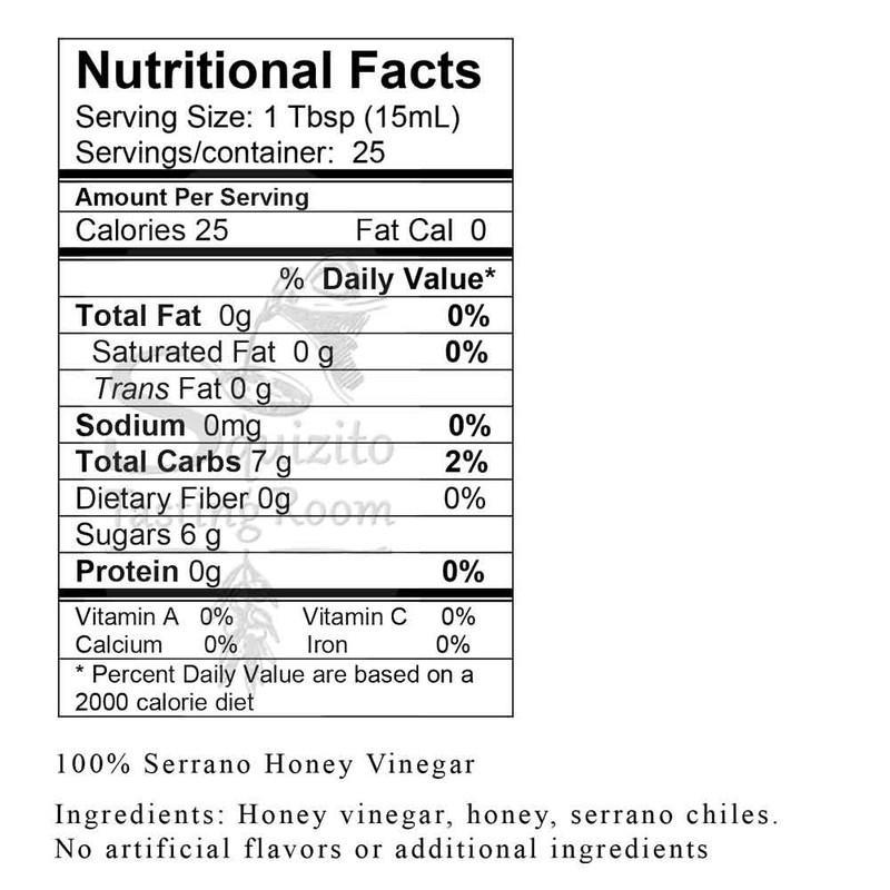 Nutrition Information 100% Serrano Honey Vinegar
