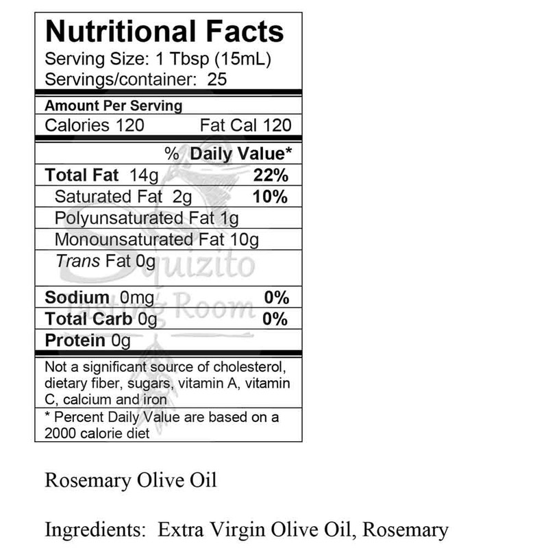 Nutrition Facts Wild Rosemary Fused Olive Oil from Squizito Tasting Room
