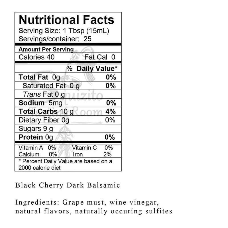Nutrition Information Black Cherry Dark Balsamic from Squizito Tasting Room