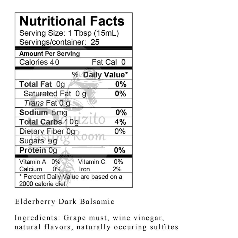 Nutrition Facts Elderberry Dark Balsamic