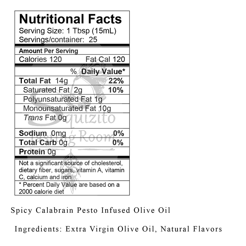 Nutrition Facts Spicy Calabrian Pesto Infused Olive Oil