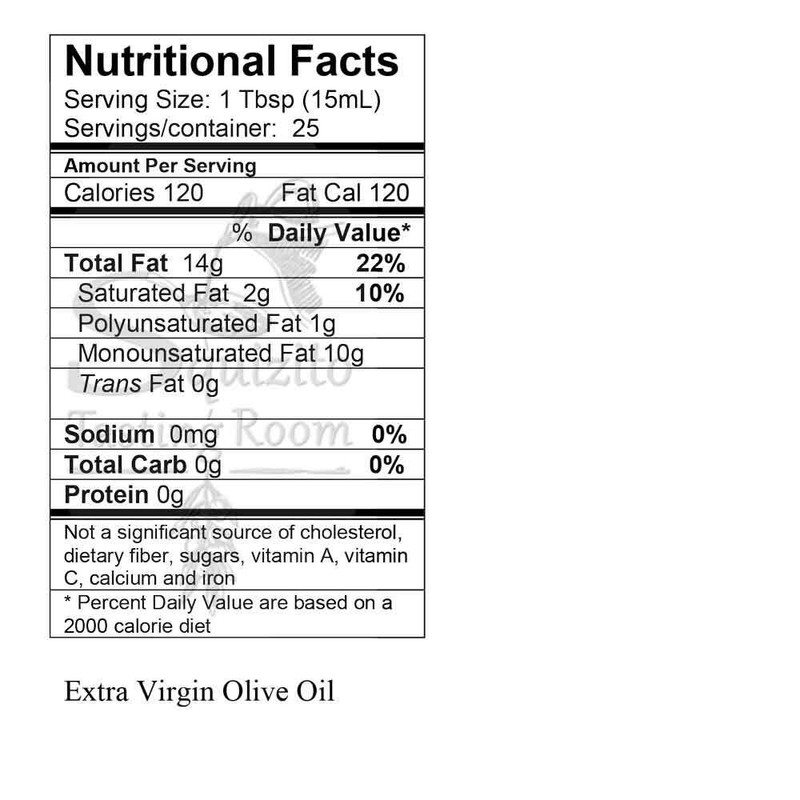 Nutrition Facts Organic Arbequina Extra Virgin Olive Oil
