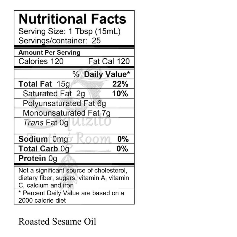 Nutrition Information Japanese Toasted Sesame Oil from Squizito Tasting Room