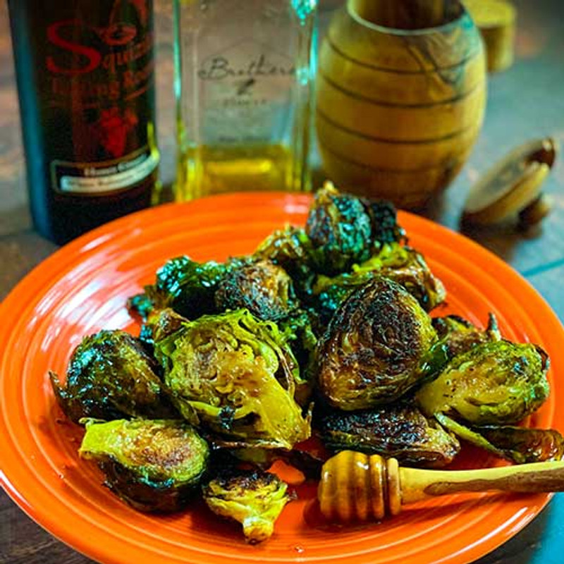Honey Ginger Roasted Brussel Sprouts