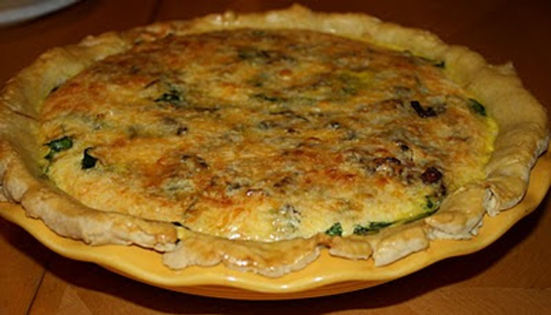 Bacon, Cheddar and Spinach Quiche