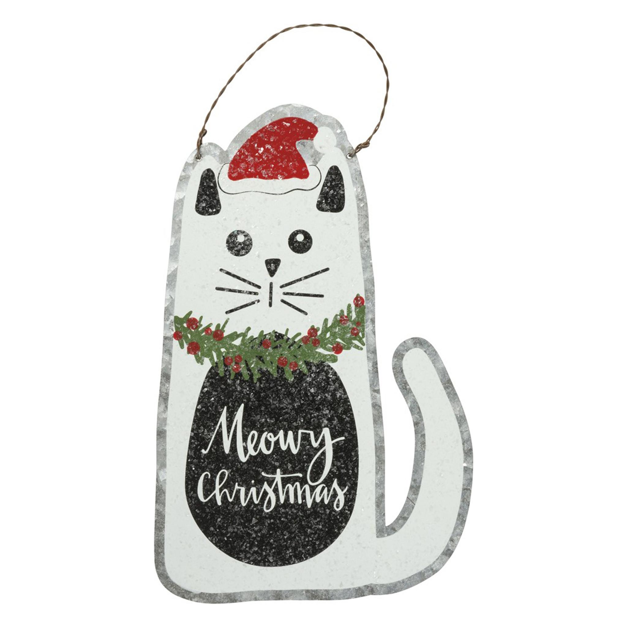Meowy Christmas.Meowy Christmas Cat Tin Hanging Sign