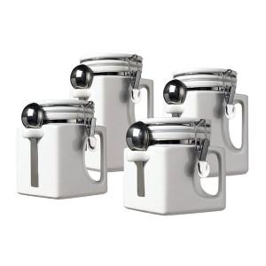 EZ Grip 4 Piece Ceramic Airtight Canister Set - White