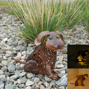 Metal Dog with Solar Amber LED Light  | 2Shopper