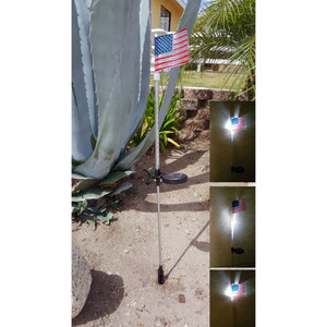 Solar Powered Flashing LED Light American Flag Garden Stake, Set of 2