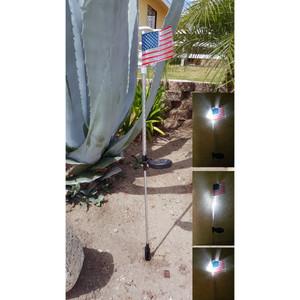Solar Powered Flashing LED Light American Flag Garden Stake, Set of 2
