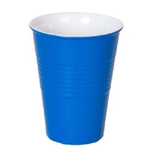"""What Is It?"" Blue Melamine Cups, Set of 4"