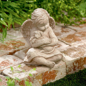 Cherub With Dog Figurine, 7-Inch