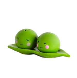 Peas In A Pod Ceramic Salt and Pepper Shaker Set