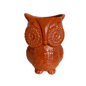 Unido Box Multi-Purpose Ceramic Owl, Cooking Utensil Holder, Kitchen Storage Crock, Accent Décor, Organizer, Vase And More - Caramel Brown