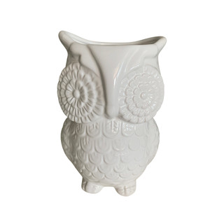 Unido Box Multi-Purpose Ceramic Owl, Utensil Holder, Kitchen Storage Crock, Accent Décor, Organizer, Vase - Ceramic White