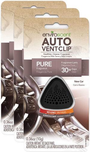 Enviroscent 01713 Auto Vent Clip, 100% Natural, Solvent-Free, New Car Scent - 3 Pack