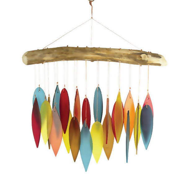 Santa Fe Colored Leaves & Driftwood Wind Chime