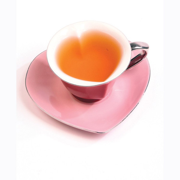 Inside Out Heart Cup & Saucer Set, Pink and Gold | 2Shopper.com