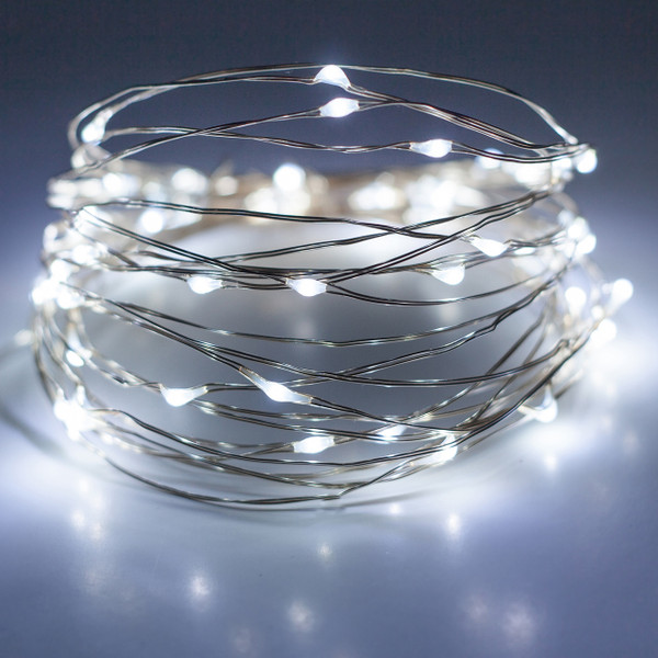 Silver Wire LED Fairy String Lights - Cool White